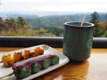 高尾山といえばお蕎麦ですね。その他にも焼き立てのお団子と甘酒もあってほっこり癒やされます。