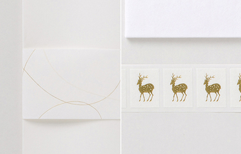 中川政七商店といえば「鹿」。金のシールとして活躍してくれます。便箋には職人が手漉きで仕上げた埼玉の小川和紙を、封筒は滲み防止に松脂を加えた高知の土佐和紙を使用しています。