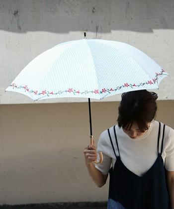長時間屋外を歩く際などはとくに日傘が必要な時がありますよね。  こちら「SESTO」のレトロ感ある日傘は紫外線カット率95%以上を誇る優秀アイテム。 雨の日も使えるため、1本あればとても助かるはず。