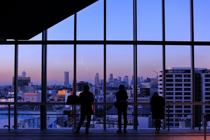 人気観光スポットやショッピングスポットが多い渋谷の、東急文化会館跡地に建設された複合商業施設「渋谷ヒカリエ」。ミュージカル劇場「東急シアターオーブ」やクリエイティブスペース、スカイロビー(画像)、レストランなどが入り、中でもショッピングエリアののShinQs〈シンクス〉には、約200のショップが入っていて多くの買い物客で平日でも賑わっています。