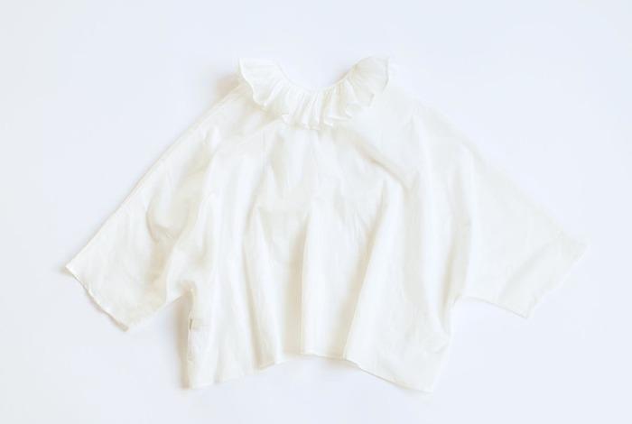 一つ上の重ね着スタイルを目指すなら、衿つきブラウスはマストハブ!中でもちょっぴりガーリーなデザインが使えます♪