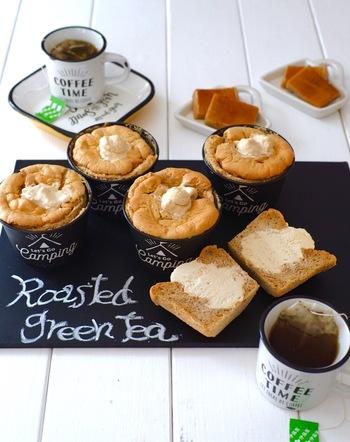 ほうじ茶がふわりと香るほうじ茶生シフォンケーキ。ほうじ茶&黒蜜入りの生クリームで、和風テイストのあっさり生シフォンケーキです。