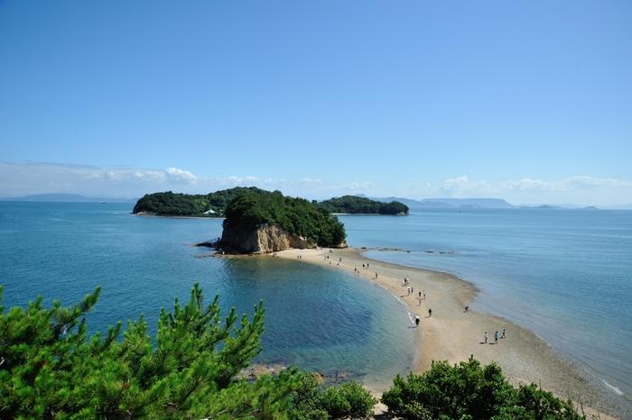 小豆島には潮が引くとあらわれる砂の道「エンジェルロード」があります。チャンスは1日2回だけ。「約束の丘展望台」から見下ろすエンジェルロードもロマンティックで素敵です。