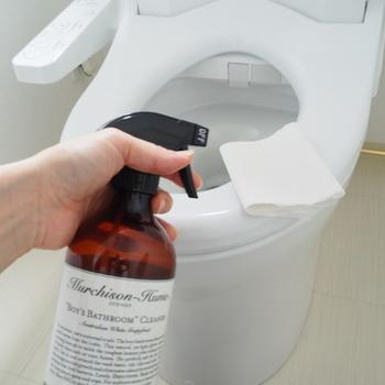 トイレにもセスキ水スプレーを。便座やドアノブなど肌が直接触れる部分は、肌に優しいセスキ水が安心です。掃除したい場所にスプレーして、トイレットペーパーでふき取ればそれだけでピカピカになります。床やトイレットペーパーホルダーにも使えます。