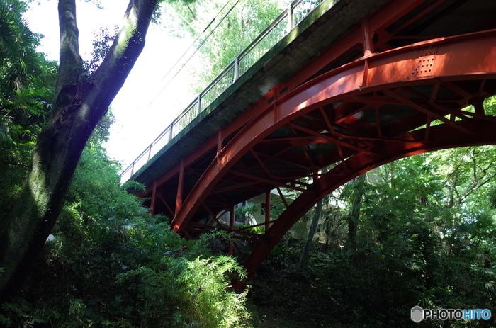 等々力渓谷を代表するゴルフ橋。緑の草木に赤い橋が映えますね。名前の由来は、昭和の初めに旧下野毛、等々力村に広大なゴルフ場があったからだそう。