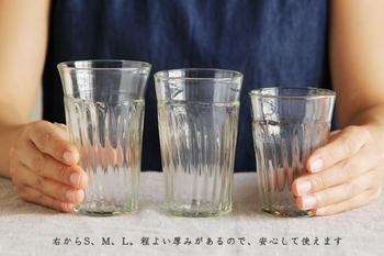 サイズはS、M、L、程よい厚みが手にしっくりと馴染み、気が付くと毎日使いたくなる。そんなタンブラーです!