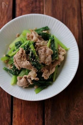 お肉のおかずを入れる時は、やっぱり緑黄色野菜も組み合わせてバランスに気をつけたいですよね。このレシピなら、緑の副菜を別に作らなくても、豚肉と一緒に栄養たっぷりの小松菜を摂ることができます。小松菜は醤油洗いをして味をしっかりなじませるのがコツだそうですよ。