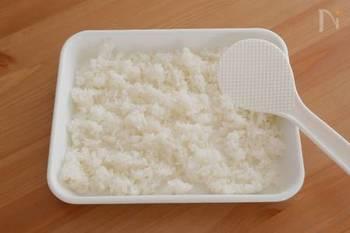 ごはんはバットやお皿などに広げて冷ましてから、お弁当箱に詰めましょう。温かいごはんをお弁当箱に入れてしまうと、内部に水滴がついてしまいます。水分は菌を増殖させてしまう原因になるので、極力、抑えるようにしましょう。