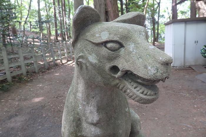 通常の神社で狛犬が鎮座する位置には、もちろん日本武尊を助けた山犬様が。ちゃんとキバが生えてます。