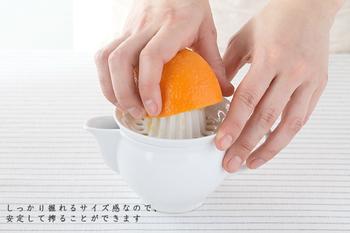 半切りのレモンが最後の一滴まで搾れるようにと研究され、作られた搾り器。勿論、レモン以外の果物でも使うことが出来ます。搾り器の凸部に対して大きめの果物でも、ある程度皮が柔らかければ、余すことなく搾ることができます。 朝食にフレッシュな生ジュースを楽しんだり、お子さんでも楽しくジュース作りが出来そうです!