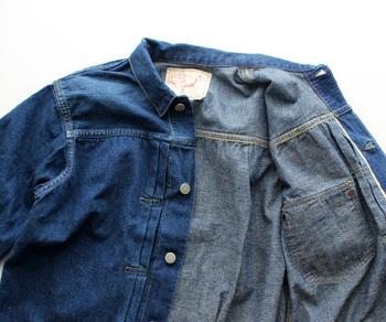 通常のデニムジャケットより気軽に使える柔らかな素材。どこか女性らしい印象です。