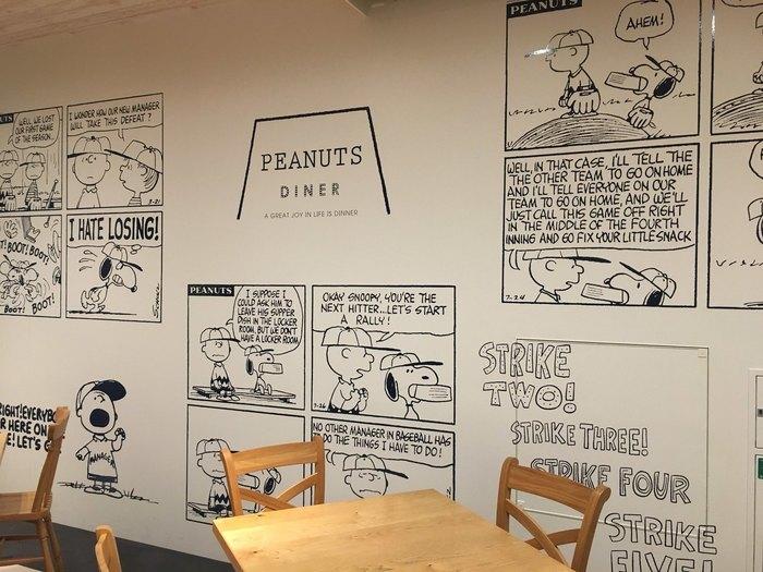 フォトスポットも素敵ですが、店内はどこもフォトスポット!壁には一面ピーナッツのワンシーンがちりばめられています。