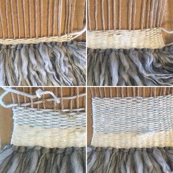 ②ヘアピンに毛糸を挟んで、編んでいきます。毛糸の色や太さを変えて個性を表現してみましょう♪