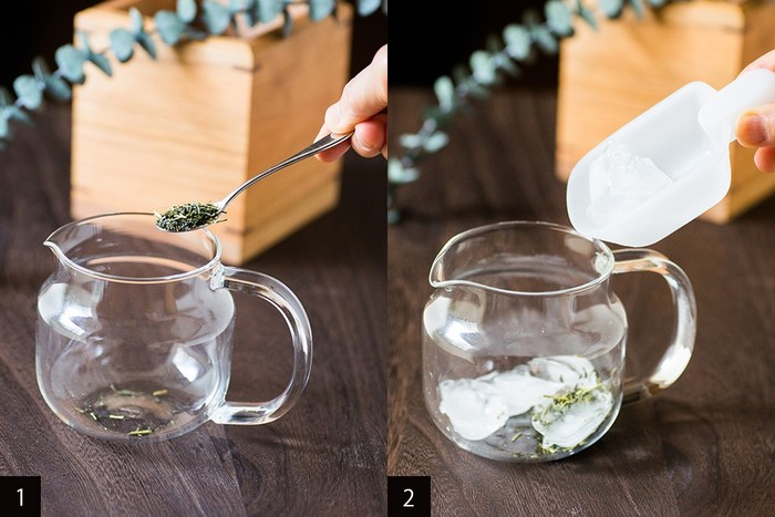 意外に知られていないのが、氷出し方法です。茶葉と氷を入れて、冷蔵庫で氷が溶けるのを待つだけ。溶けるのには16時間程度かかりますが、茶葉の旨味と甘さが凝縮した美味しい一杯を楽しむ事ができます。