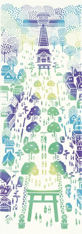 鶴岡八幡宮に向かう段葛の前に位置するnugooの店舗。そこから見える景色が描かれた段葛の柄の手ぬぐい。鎌倉の思い出土産にいかがですか?雨に濡れた体をさっと拭うのにも重宝しますよ。