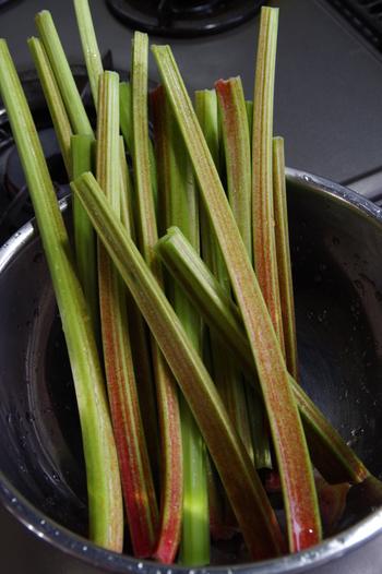 葉柄は、夏は柔らかく酸味が強く、秋には固くなって酸味が和らぐのが特徴です。色には《赤》《緑》《赤と緑の混じったもの》があります。