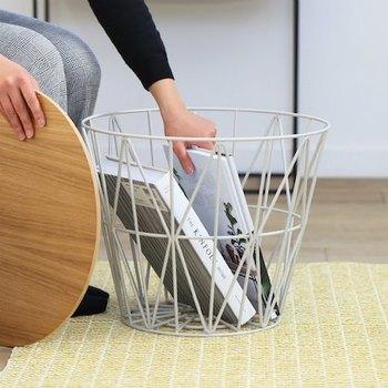 天板を外せば大きな大容量のバスケットに。中身をおしゃれに見せてくれる丈夫なワイヤー製が人気です。