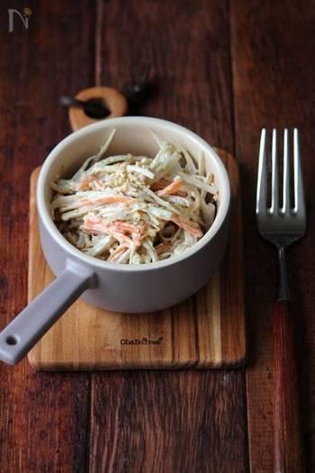きんぴらごぼうでお馴染みの具材は、マヨネーズ+味噌とねりごまでちょっぴり和風の隠し味を。和食の副菜にはもちろん、しっかりめの味はパンにもよく合います!