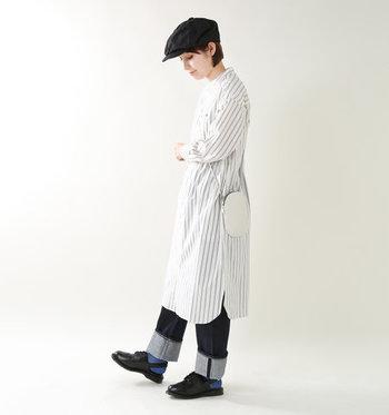 デニムにハンチング帽を合わせたマニッシュコーデとの相性もバツグン◎。普段のお出かけはもちろん、フォーマルな装いに合わせても様になります!