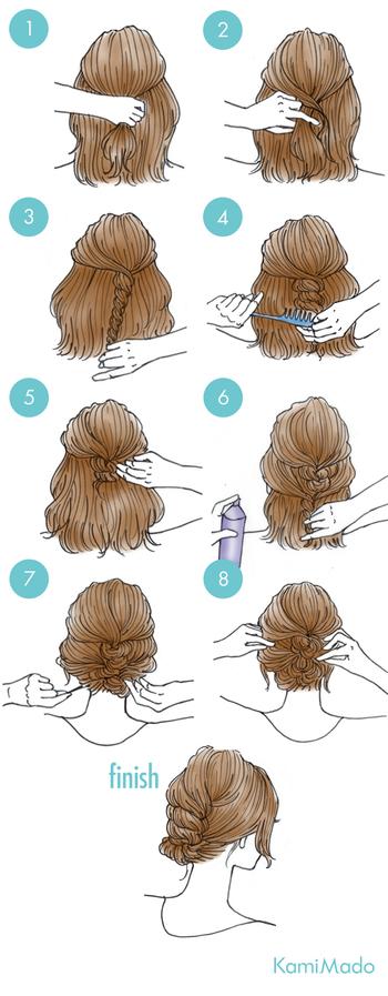 トップの髪を分けとり、さらに2つに分けて交差させねじっていきます。ねじった髪に軽く逆毛を立てるようにコームを下からあてていき、毛束をまとめたらピンで留めスプレーで固定させます。下の髪も同様にねじりピンで留め軽くほぐしたら完成です。