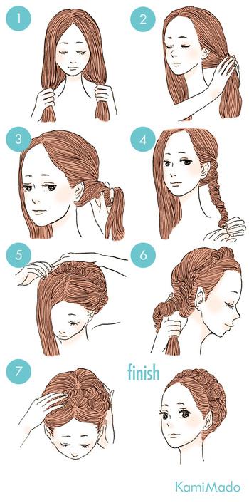 ねじねじして毛先を持ち上げピンで固定するだけでできちゃう、簡単クラシカルスタイル。きつめにしっかりとねじっていくのがポイントです。