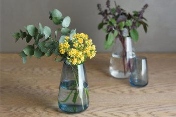 取り外し可能な上部の受け皿は、ハーブなどの葉の成長をサポートするだけでなく、繊細な植物に直接触れることなく水の交換が可能。さらに取り外して使えば、花瓶にもなります。  涼を与えてくれるガラスの花器で、夏のインテリアを爽やかに演出してみてはいかがでしょうか。