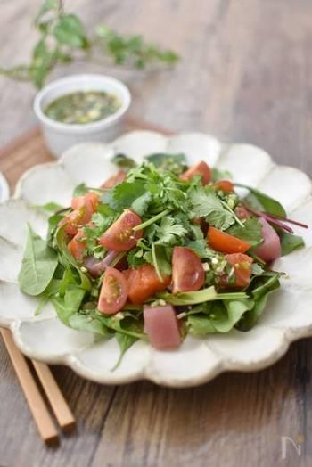 パクチーだれはまぐろ、サーモン、エビ、イカなど魚介類とも合います。野菜と合わせて海鮮サラダのドレッシングにも。
