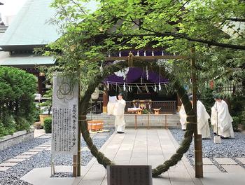 こちらは「東京のお伊勢さま」と呼ばれて親しまれる東京大神宮。鮮やかな初夏の緑の下に茅の輪が設けられます。