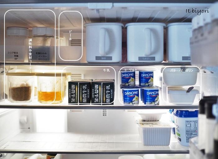食材の整理ができたら、だいたいのグループ分けをして冷蔵庫に戻していきます。調味料だけをまとめたり、お子さんのおやつにするものをまとめておくなど、生活サイクルを考えながら使いやすいと思うカテゴリで配置を決めましょう。