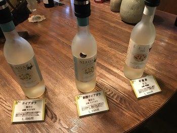 試飲もひとり500円(ワイン、果汁購入の場合は返金)。自社畑では肥料なども使わない自然栽培にこだわり、醗酵も皮についた酵母によるなど、自然の味、土地ならではの味がこの「くらむぼんワイン」の特徴です。