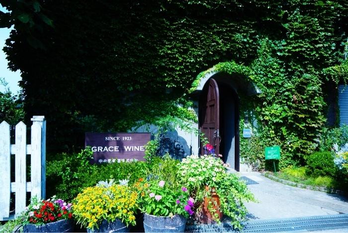 日本ではなくヨーロッパを思わせるようなツタの絡まる建物。創業1923年の「中央葡萄酒」は「グレイスワイン」の名で親しまれています。勝沼ぶどう郷駅からはタクシーで約10分。「シャトー・メルシャン」からは徒歩約15分ほどです。
