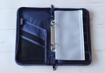 クリアポケットが3枚ついているので、旅先で通貨やメモなどを分けて収納でき、取り外しも可能です。