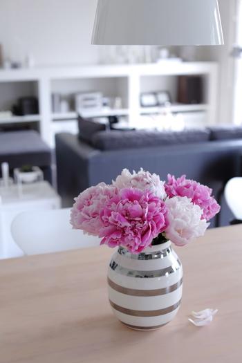 和なイメージのシャクヤクですが、オマジオのフラワーベースにあわせると、モダンな印象に。白×シルバー×ピンクのコントラストがきれいですね。 ひらっと落ちる花びらもまた、絵になります*