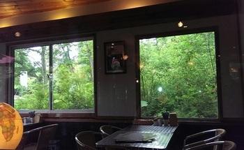 室内からメリーゴーラウンドは望めませんが、窓から森の眺めを楽しむことができます。