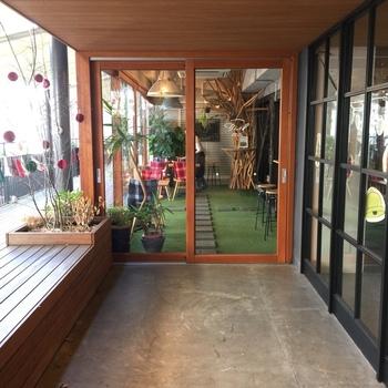 太陽が差し込むテラス、そして店内には緑溢れる空間が広がっている「Bird(バード)」があります。