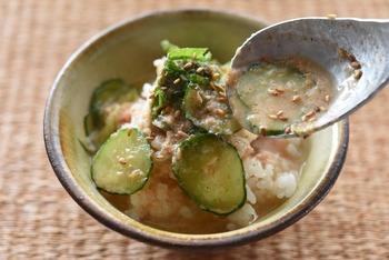 宮崎の郷土料理「冷や汁」は、タンパク質、糖質、塩分がバランス良く摂れる、夏を乗り切るおすすめのメニューです。古くから伝わる郷土料理には、季節を乗り切る知恵が詰まっています。冷蔵庫で冷やすと食欲がない時でも、さっぱりおいしくいただけます。