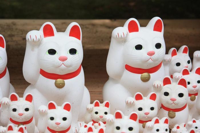 """豪徳寺の招き猫は、実は一般的な招き猫が持っている""""小判""""を持っていないんです。これは""""招き猫はチャンスを与えてくれても、福は与えない。チャンスを掴むのは本人の頑張り次第""""という想いから、右手だけをあげたシンプルな招き猫になっています。"""