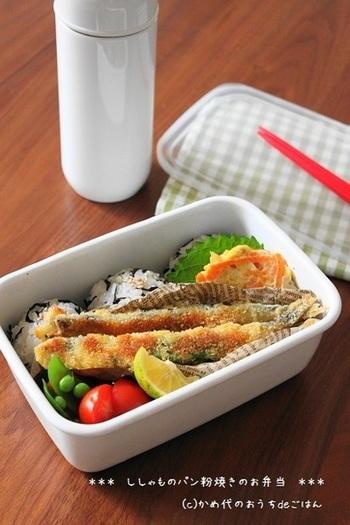 こちらは、ししゃものパン粉焼き。鮭やホタテなど魚介のおかずは、優しい雰囲気のホーローのお弁当箱に合いそうですね。