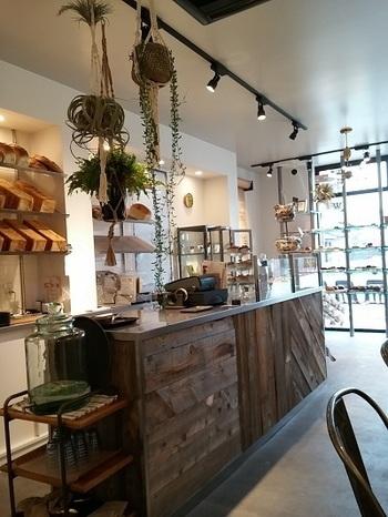 窓の光が差し込む明るい店内は、木目調の家具やグリーンがセンス良くディスプレイされたナチュラルな雰囲気で、パンを選ぶのが楽しくなります。