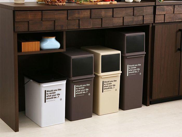 分別をしっかりされるご家庭は、カフェテイストのデザインのこちらのゴミ箱はいかがでしょうか?サイズ展開やカラーがいくつもあるので、ご家庭のキッチンのサイズに合わせて大きさを選ぶことができます。
