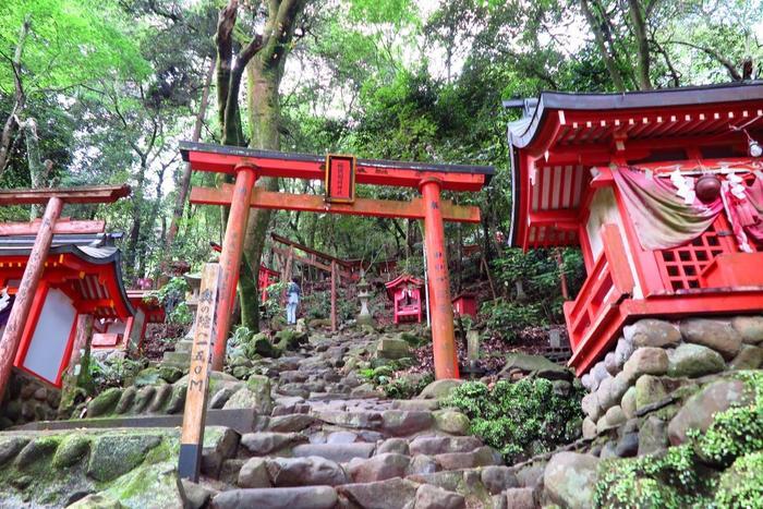 本殿を参拝したら、ぜひ「奥の院」へ。山頂に鎮座する奥の院は、本殿からは約300mの険しい山道で約30分程かかるので、体力に自信がある方のみ行くことをおすすめします。