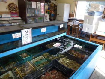 店内には生簀があり、新鮮な海産物がずらりと並んでいます。この中から好きな海産物を選んで、テーブルで炭火で焼いて食べるというシステムです。どれにするか迷ってしまうほどたくさんの種類があるので、生簀の中をしっかりとチェックしてから注文しましょう!