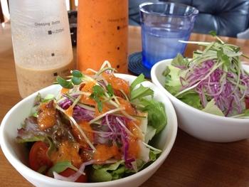 こだわり野菜は、シャキシャキ新鮮でみずみずしい◎サラダには、ニンジンドレッシングをたっぷりとかけて♪