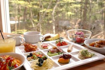 地元のお野菜にこだわったお料理の数々をバイキング形式で。地元の味を存分に楽しもう。