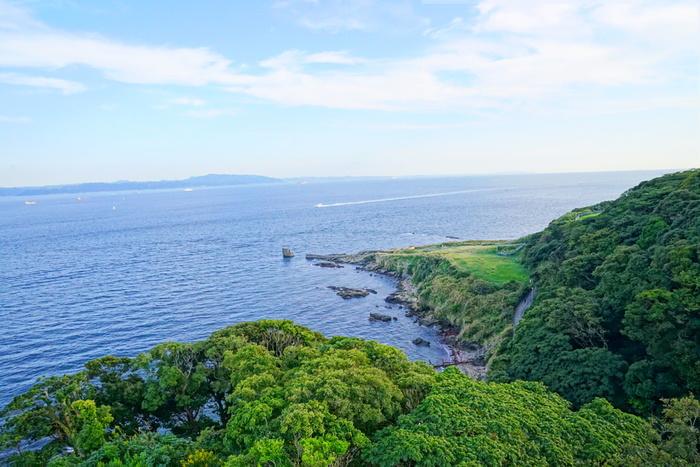 横須賀美術館があるその場所こそが、「観音崎公園」です。自然豊かな公園で森の緑だけでなく、青い海を眺めることができ、リラックスできること間違いなし!