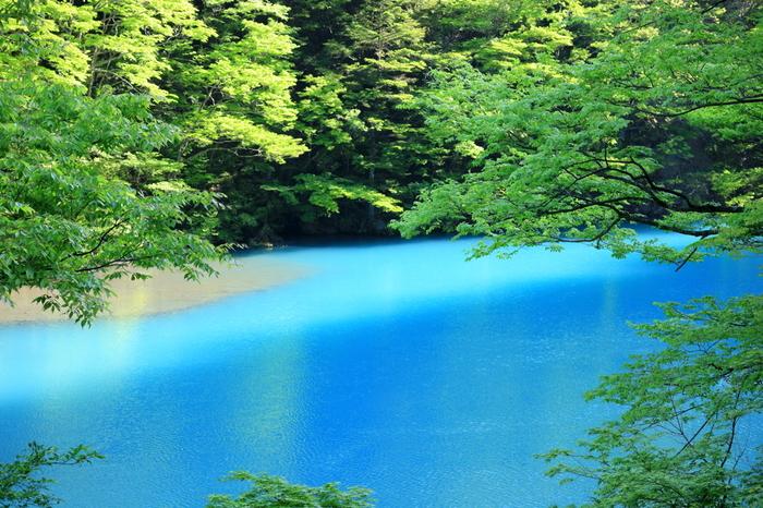 夢の吊橋があるのは大間ダムのある「チンダル湖」。珍しい湖の名称は、湖に青みがかかる原因である「チンダル現象」からとった名前のようです。