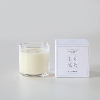 【キャンドル GLASS CANDLE】  倉敷製蝋(くらしきせいろう)のキャンドルは、天然植物由来のパームワックスを使用しています。柔らかな香りは、日本人に合うものをと考えられたエッセンシャルオイルが配合されており、リラックスできるキャンドルです。