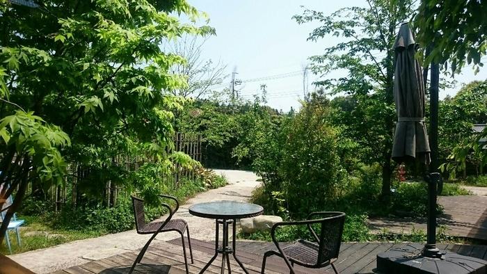 広いお庭にはテラス席も。お天気の良い日はここでアイスコーヒーなどをいただくのも気持ち良いですよ。