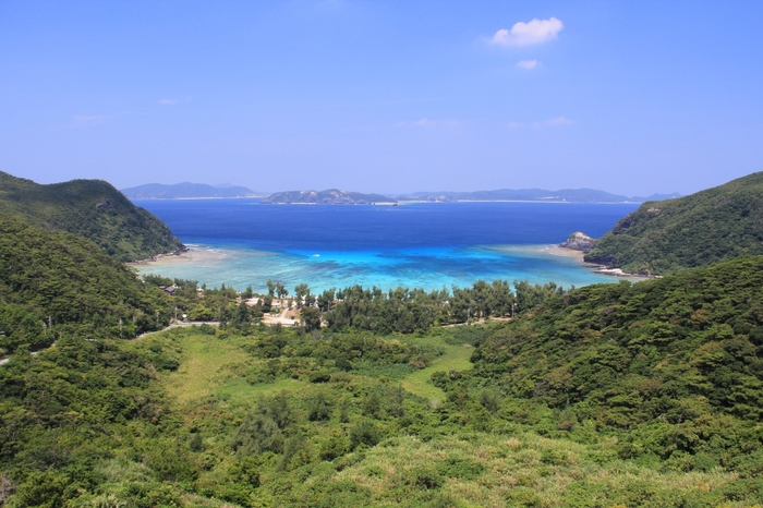 ゆるやかな弧を描いた渡嘉志久ビーチは、渡嘉敷島西側海岸の中央部に位置するビーチです。