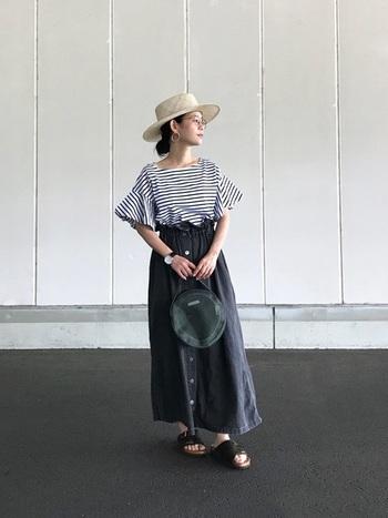 フリル袖のTシャツとフロントボタンスカートがレディなモノトーンスタイルですが、足元はビルケンシュトックでカジュアルに。女性らしい雰囲気にサンダルのカジュアルさが絶妙にマッチしています。